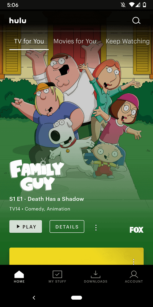 A screenshot of Hulu showing recommended TV shows.