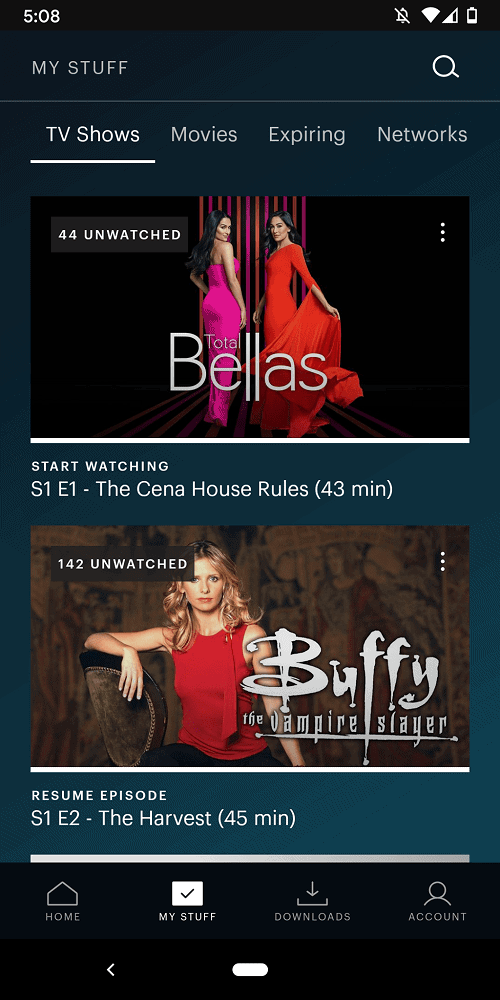 A screenshot of the TV shows page of Hulu.