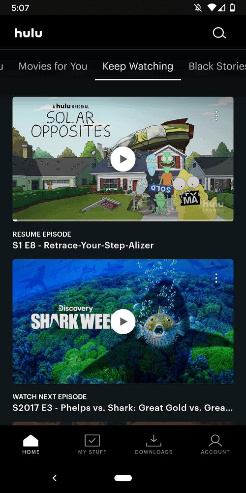 A screenshot of the Keep Watching page of Hulu.
