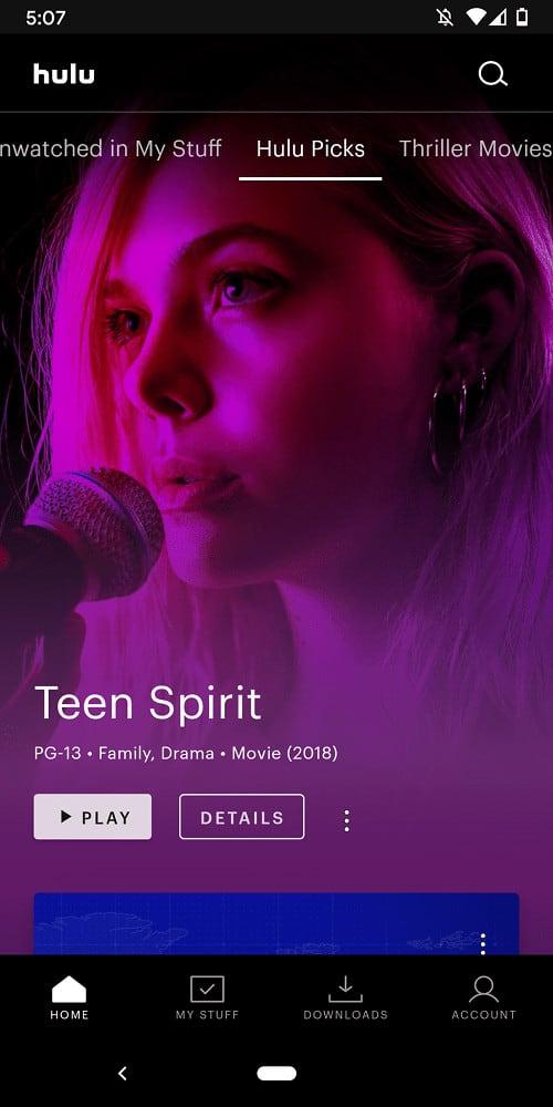 A screenshot of the Hulu Picks page.