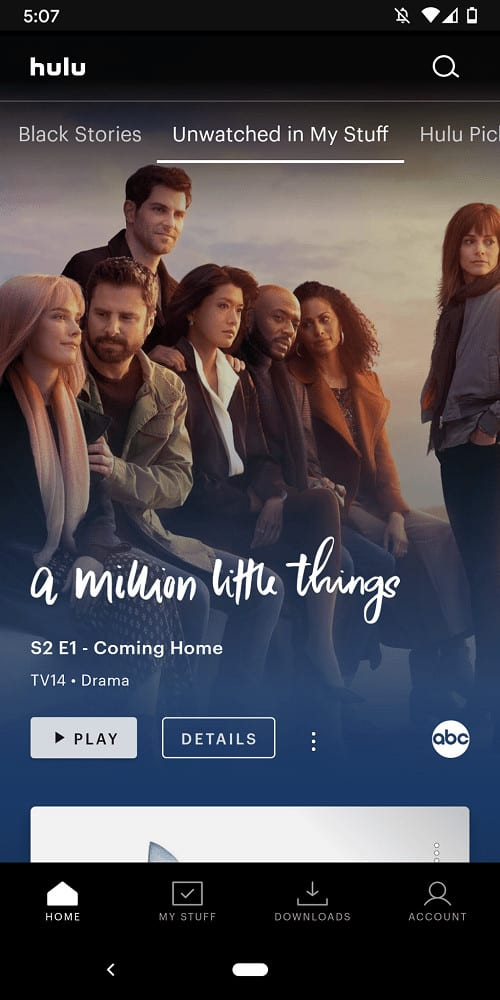 A screenshot of the Unwatched page of Hulu.