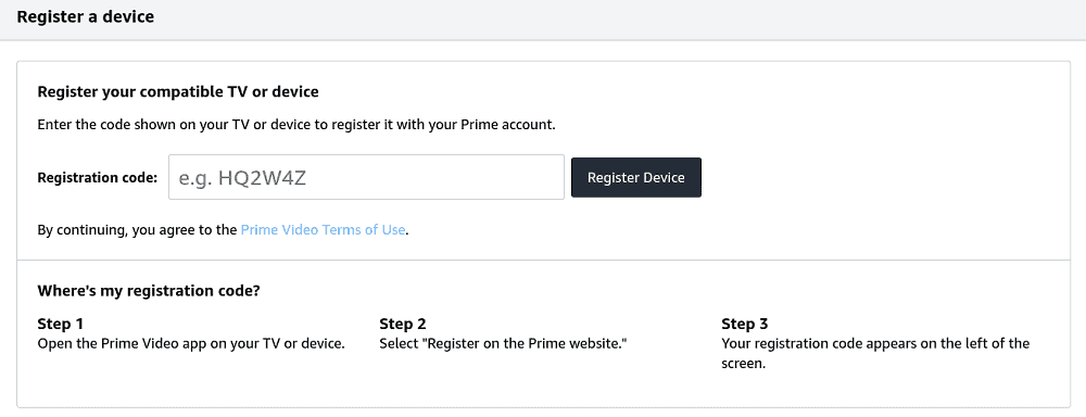 Amazon Prime's instructional page on how to register a device.