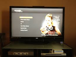 A TV showing Amazon Prime through a game system.