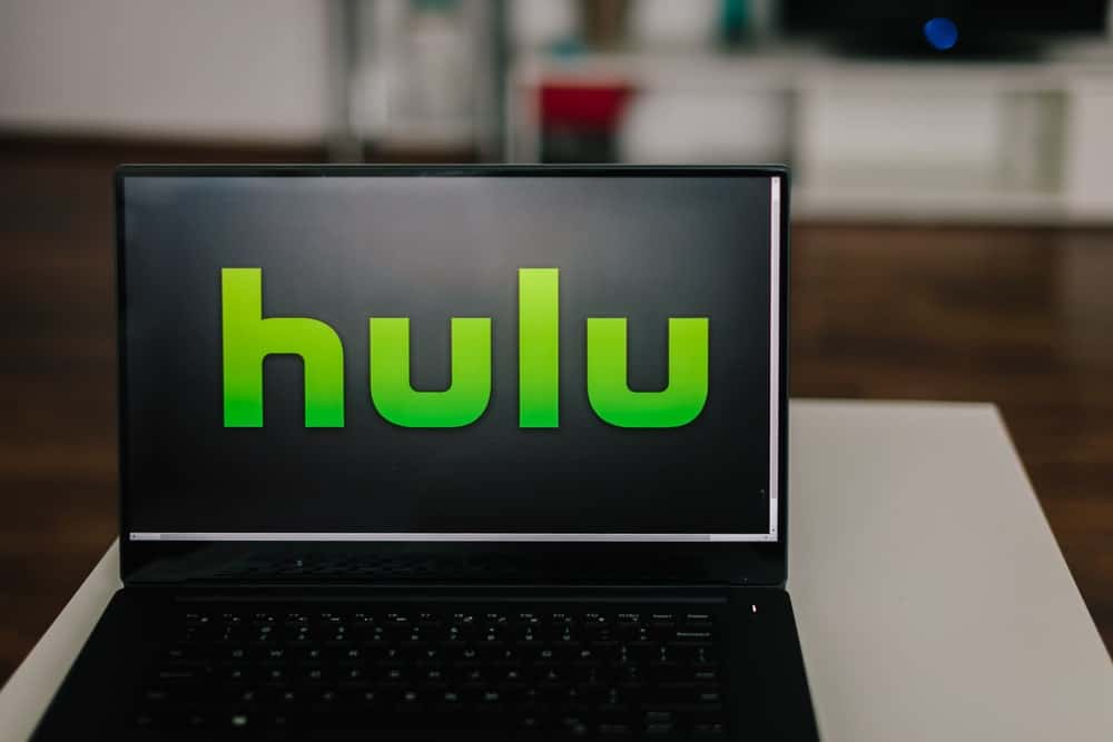 Hulu logo on laptop screen.