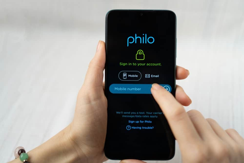 This is a look at the Philo App sign in page on the mobile phone.