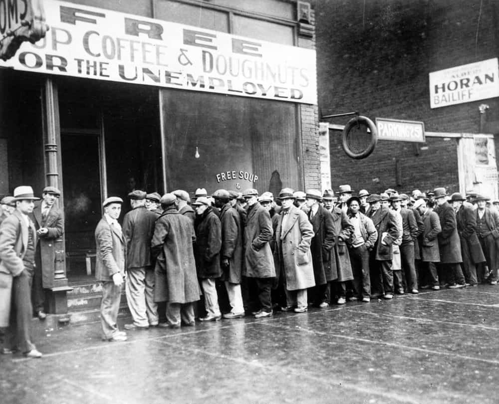 A vintage picture from the great depression showcasing the massive unemployment of America.