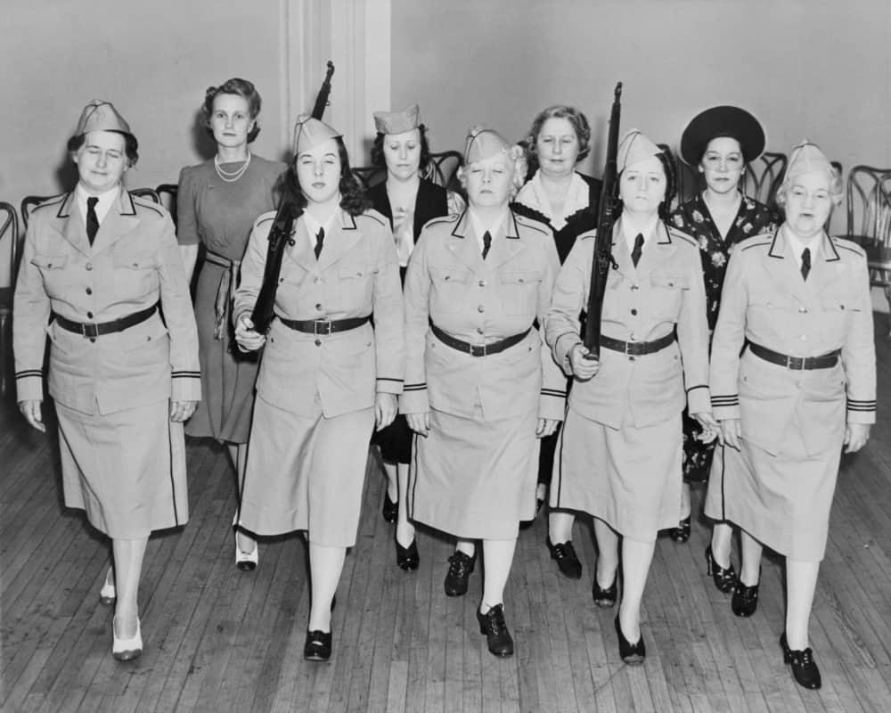 A brigade of women serving as a civil defense unit.