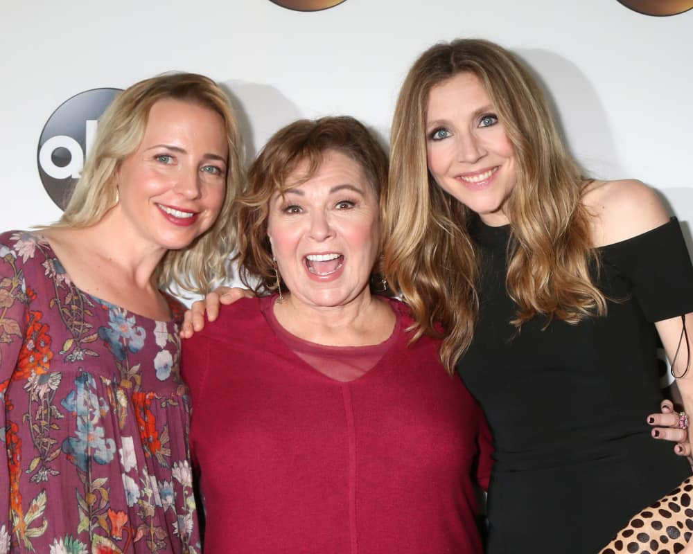 Sarah Chalke with Lecy Goranson, Roseanne Barr, at the ABC TCA Winter 2018 Party