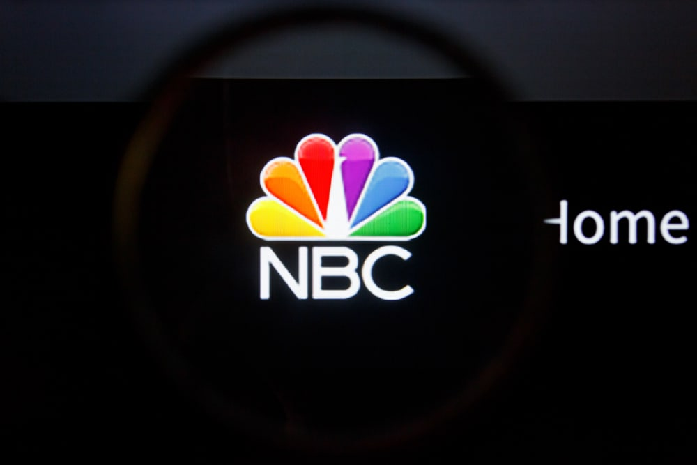 This is a close look at the NBC network logo.