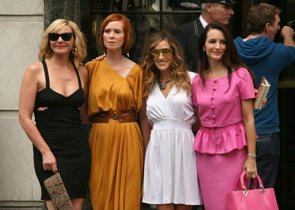 Kim Cattrall, Cynthia Nixon, Sarah Jessica Parker, and Kristin Davis were seen on location for Sex and the City 2 Movie in Manhattan, New York on August 9, 2009.