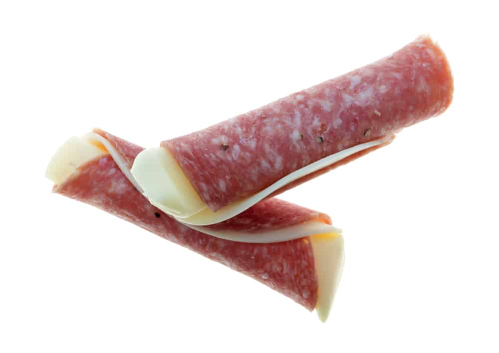 Provolone cheese wrapped in salami slices.