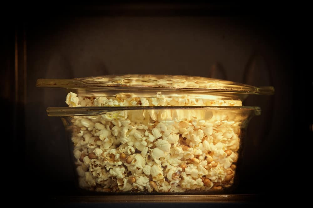 This is a close look at a Microwave Popcorn Maker made of glass inside a microwave.