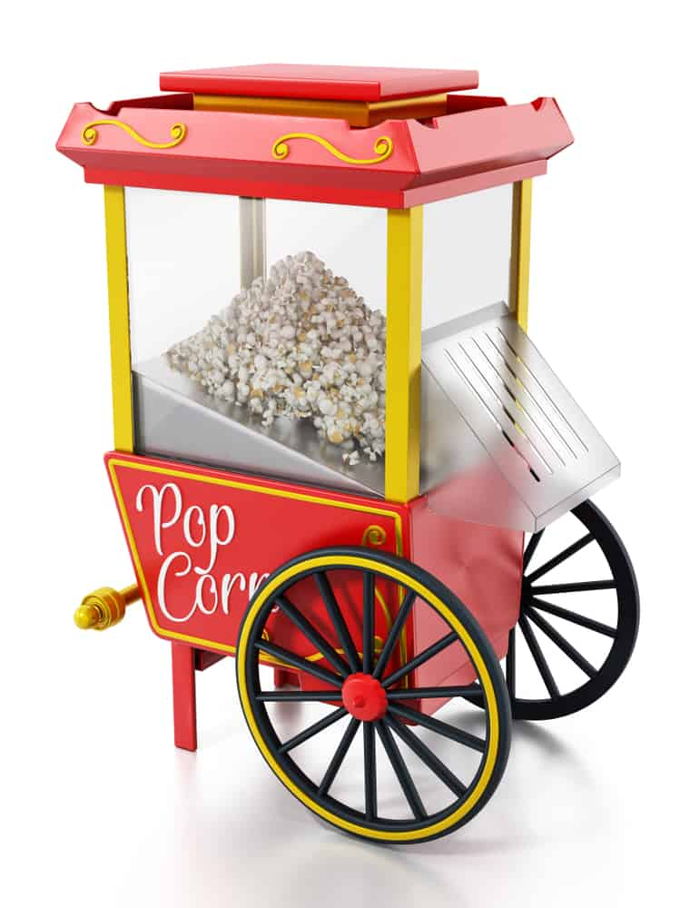 This is a Commercial Popcorn Maker with a cart design.