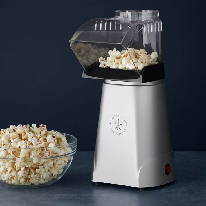 The Williams Sonoma Hot Air popcorn maker in silver.