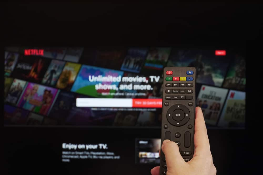 Hand with a remote against the TV showing the Netflix app.