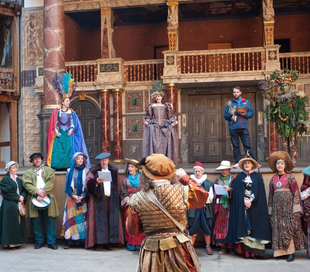 This is a look at a theater company performing Shakespeare's The Tempest on stage.