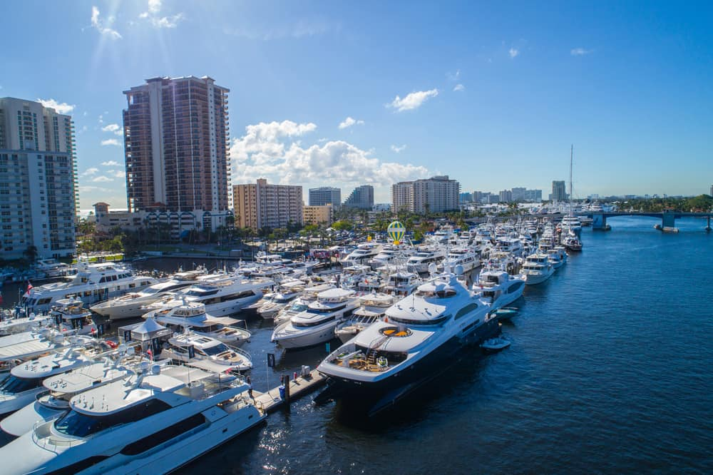Aerial photo of the 2017 Ft Lauderdale Florida boat show USA.