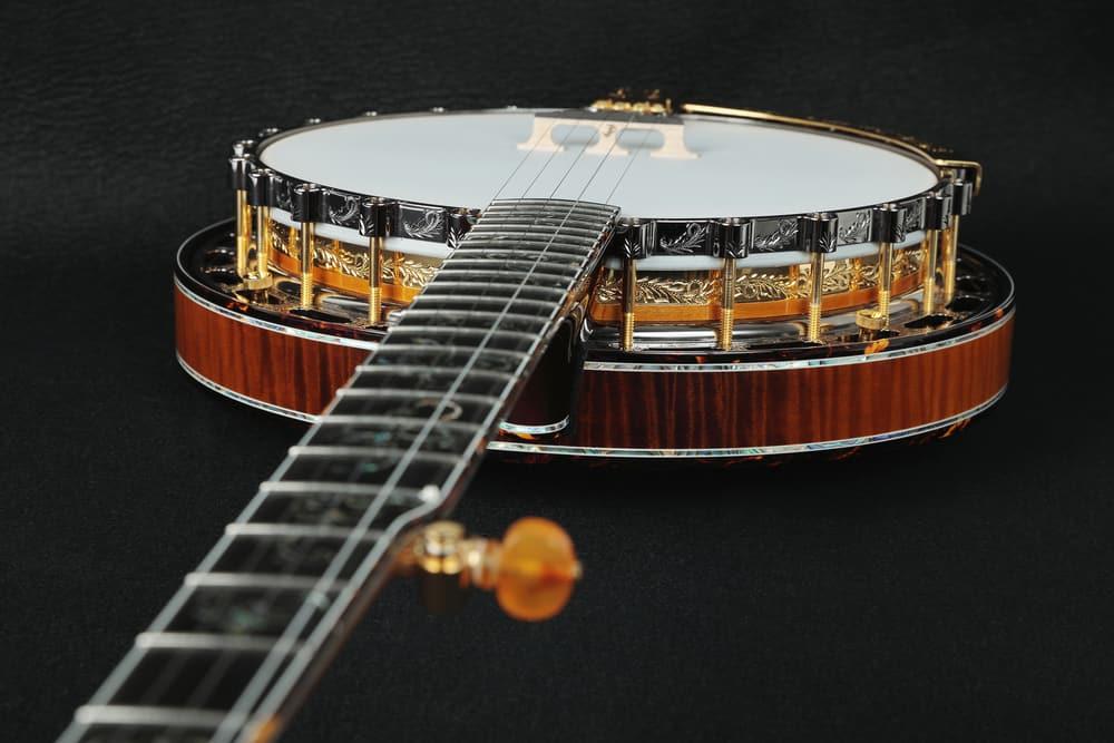 Mahogany banjo inlaid with gold.