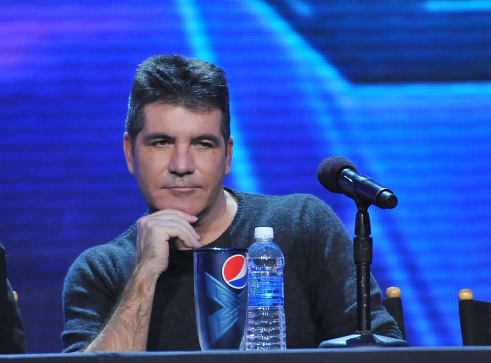 """Simon Cowell at the press conference for the season finale of Fox's """"The X Factor""""."""