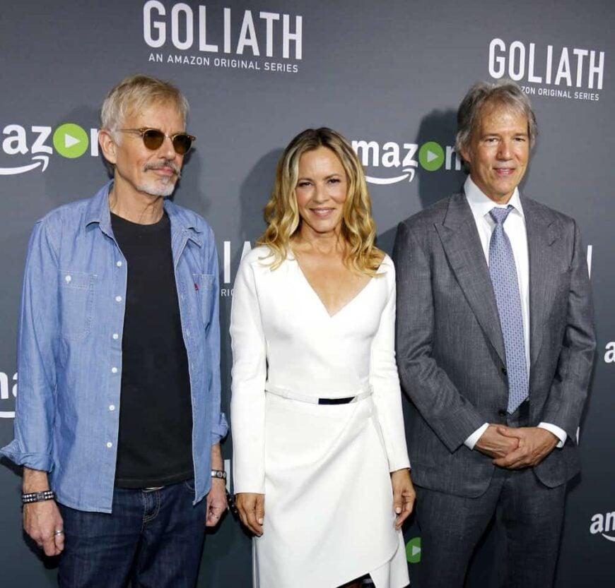 illy Bob Thornton, Maria Bello and David E. Kelley at the Los Angeles premiere of Goliath.