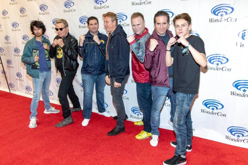 The cast of Cobra Kai together on the red carpet.