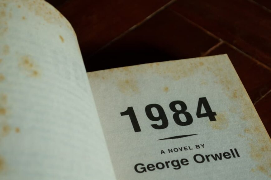 This is a close look at the title page of the novel 1984 by George Orwell.