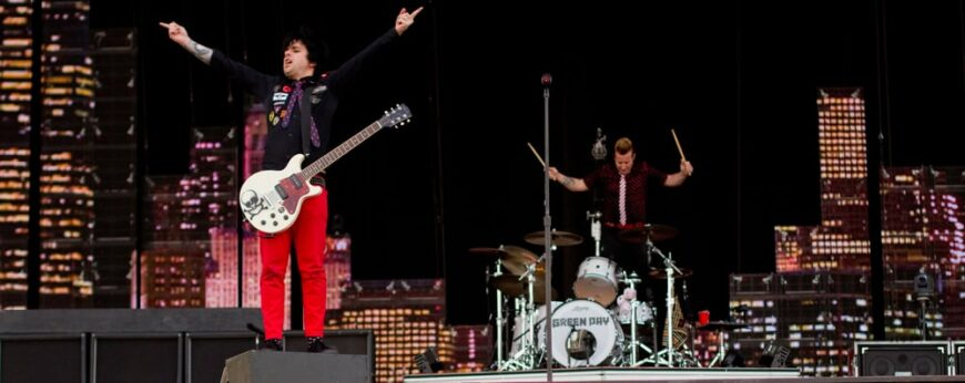 Green Day performs on stage in Helsinki, Finland.