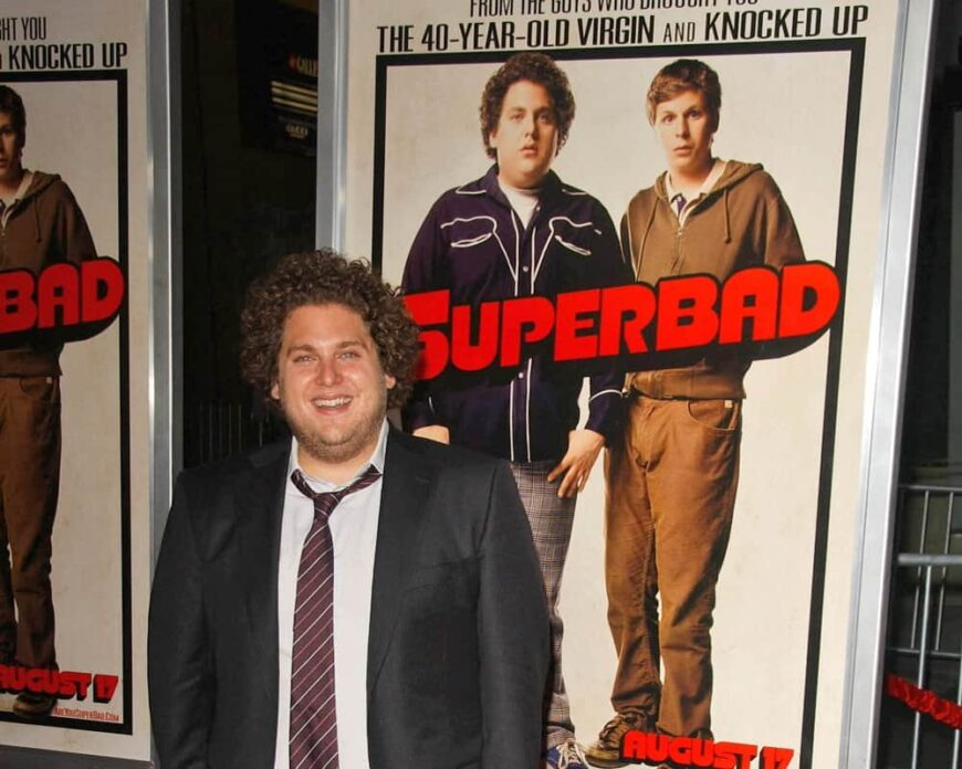 Jonah Hill attended the premier of Superbad in cinemas.