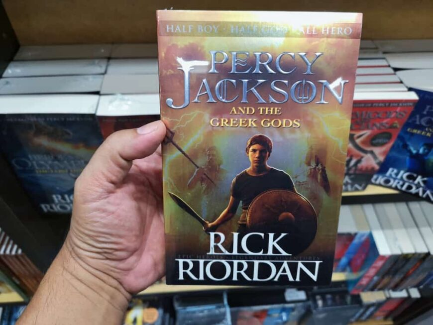 A look at Rick Riordan's Percy Jackson Book in a bookstore.