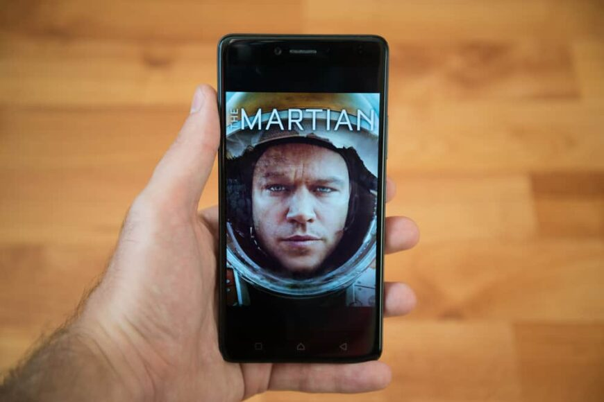 The Martian movie poster on a mobile phone.