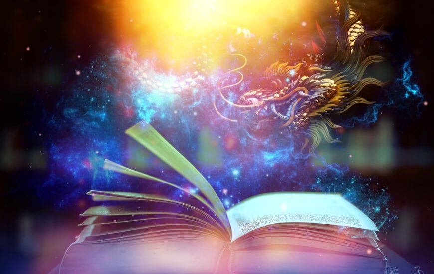 A close look at a book opening with stars and a dragon above it.