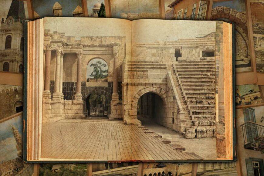 This is an old open book depicting the columns and ruins of an old Roman city.