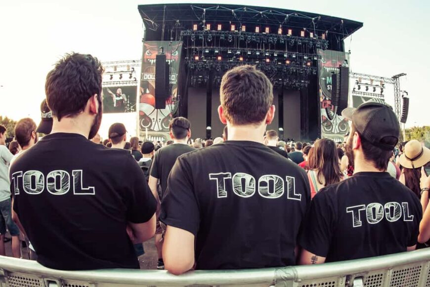 Fans of the band Tool wait for their concert performance in Madrid.